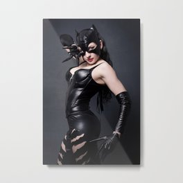Sexy brunet in cat mask and latex costume Metal Print