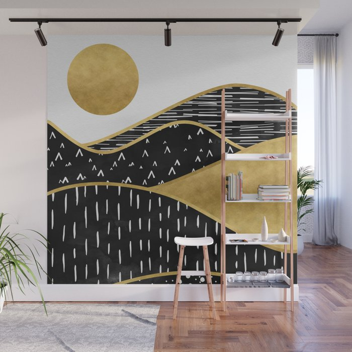 Gold Sun, digital surreal landscape Wall Mural