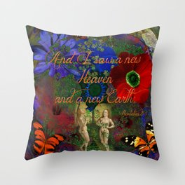 """Adam and Eve's Scriptured """"Earth"""" Throw Pillow"""