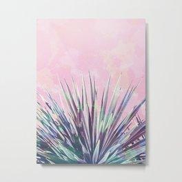 Vintage Yucca Palm - Pink Metal Print