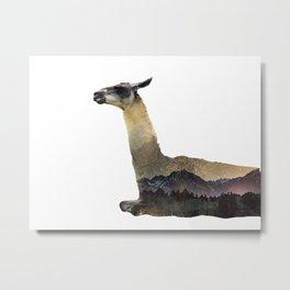 Llama Double Exposure Metal Print