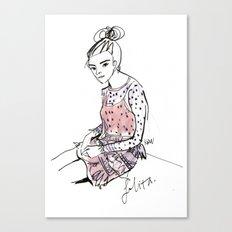 Lolita in a sheer pink polka dot dress  Canvas Print