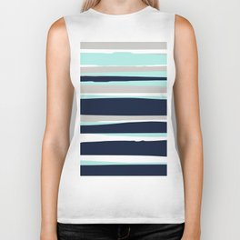 Ocean, Stripe Abstract Pattern, Navy, Aqua, Gray Biker Tank