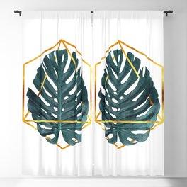 Monstera Leaf Pattern 3 - Tropical Leaf Pattern - Blue, Navy- Gold Geometric Shape - Modern, Minimal Blackout Curtain