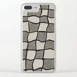 Swirly Tweed Check Design - Beige Clear iPhone Case