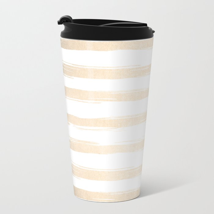 Simply Brushed Stripes White Gold Sands on White Metal Travel Mug