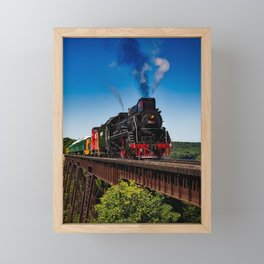 Vintage Train on Railroad in Scenic Country Landscape Framed Mini Art Print