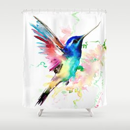 Hummingbird , Blue Turquoise Pink Shower Curtain