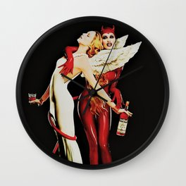 Vintage Campari Italian Bitters Aperitif Angel and Devil Advertisement Poster Wall Clock