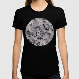 Dragonflies, Butterflies and Moths With Plants on Grey T-shirt