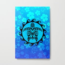 Black Tribal Turtle And Hibiscus Metal Print