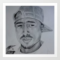 tupac Art Prints featuring Tupac  by Brooke Shane