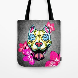 Slobbering Pit Bull - Day of the Dead Sugar Skull Pitbull Tote Bag