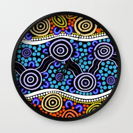 Authentic Aboriginal Art - River Journey Wall Clock