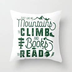 Mountains & Books Throw Pillow