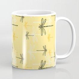 Dragonfly minimal Soft yellow & Gray_drawing Coffee Mug