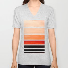 Brown Minimalist Watercolor Mid Century Staggered Stripes Rothko Color Block Geometric Art Unisex V-Neck