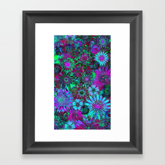Rivalry of Flowers - green & lilac Framed Art Print