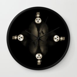 Dreams portal - with moon owl and crow Wall Clock