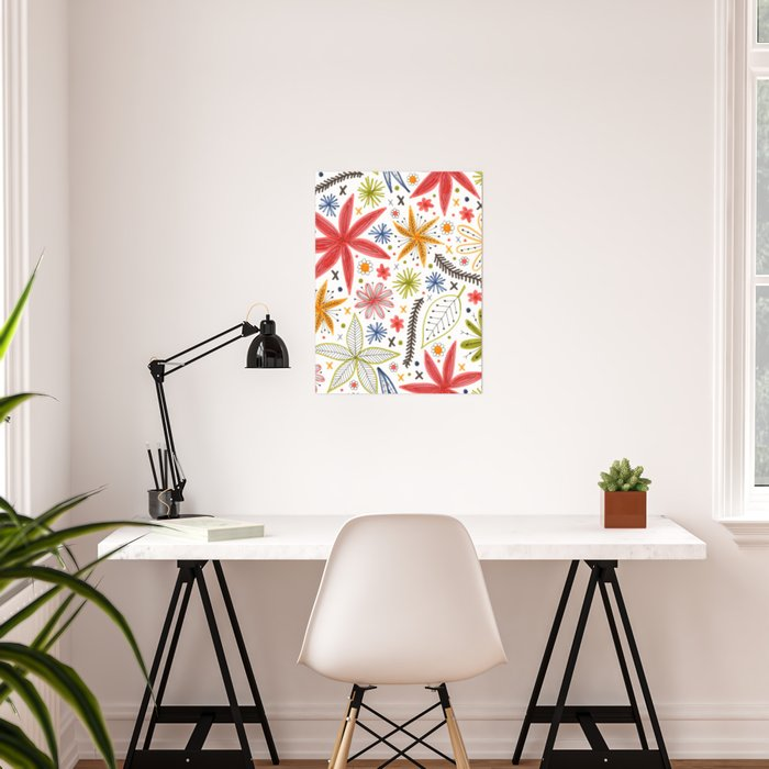 colorful funky floral pattern Poster