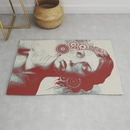 Ayil: Red Shadow | vintage lady portrait | zentangle mandala drawing Rug
