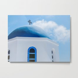 Greek Orthodox Church Oia Santorini Greece Metal Print