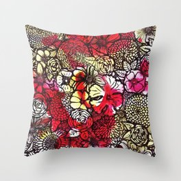 Yellow'n Red Flowers Throw Pillow