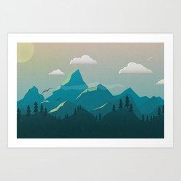 Rays on Mts. Art Print