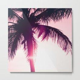 pink palm tree silhouettes kihei tropical nights Metal Print