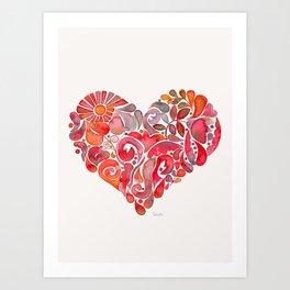 Red doodle heart Art Print