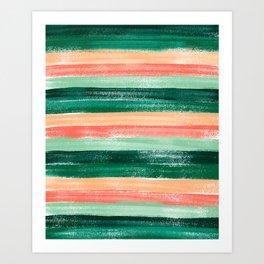 Green and Orange Pastel Stripe Pattern Abstract  Art Print