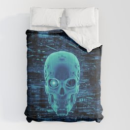 Gamer Skull BLUE TECH / 3D render of cyborg head Comforters