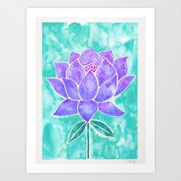Sacred Lotus – Lavender Blossom on Mint Palette Art Print