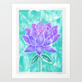 Sacred Lotus – Lavender Blossom on Mint Palette Art Print