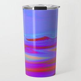 """Pixel Beach"" (Ice Blue/Red/Purple) Digital Painting // Fine Art Print Travel Mug"