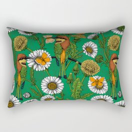 Bee eaters on a spring meadow    Rectangular Pillow