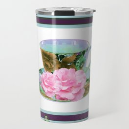 ABSTRACTED PINK ROSE TEA TIME BLUE PORCELAIN ART Travel Mug