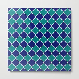 quatrefoil - green on blue Metal Print
