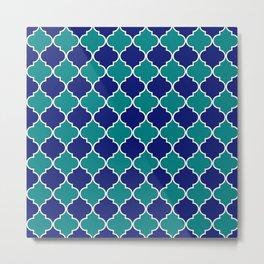 quatrefoil - green on blue Metal Print