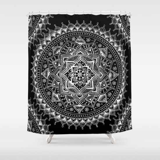 Curtains Ideas black shower curtain with white flower : White Flower Mandala on Black Shower Curtain by Laurel Mae | Society6