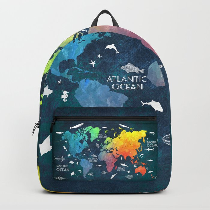 Ocean world map color map worldmap backpack by jbjart society6 ocean world map color map worldmap backpack gumiabroncs