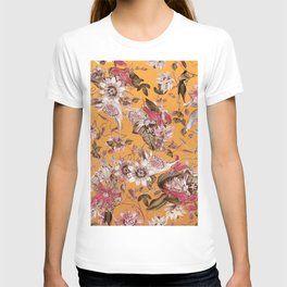 Passion Flower Floral Pattern on Orange T-shirt