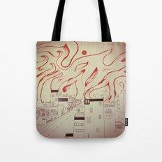Burning city Tote Bag