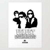 velvet underground Art Prints featuring VELVET UNDERGROUND W by zzglam