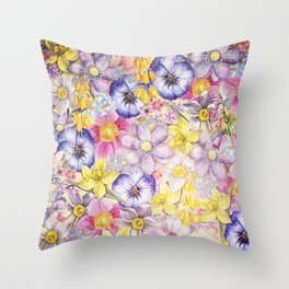 Painterly Vintage Spring Flowers Pattern - Springflower floral Throw Pillow