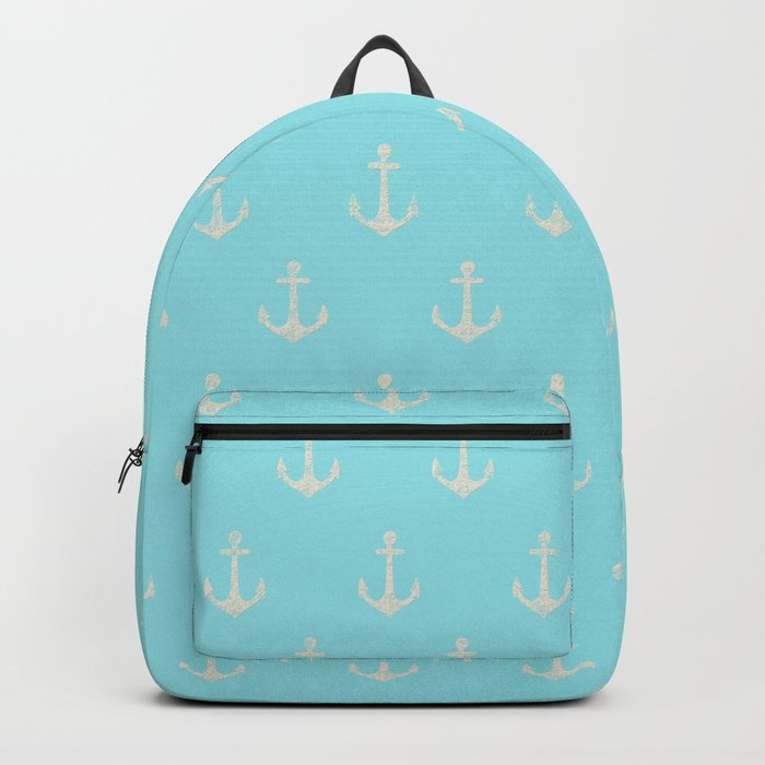 Maritime Aqua and White Anchor Pattern on #Society6 Backpack
