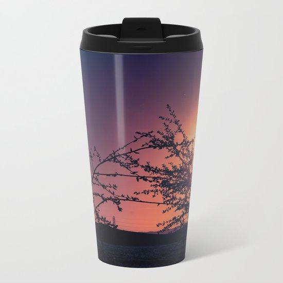 Catching the Moment (Coral Orange Sunset, Dark Violet sky) Metal Travel Mug