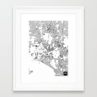 melbourne Framed Art Prints featuring MELBOURNE by Maps Factory