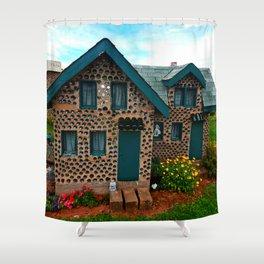 Green Gabled Bottle House Shower Curtain
