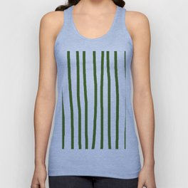 Simply Drawn Vertical Stripes in Jungle Green Unisex Tank Top